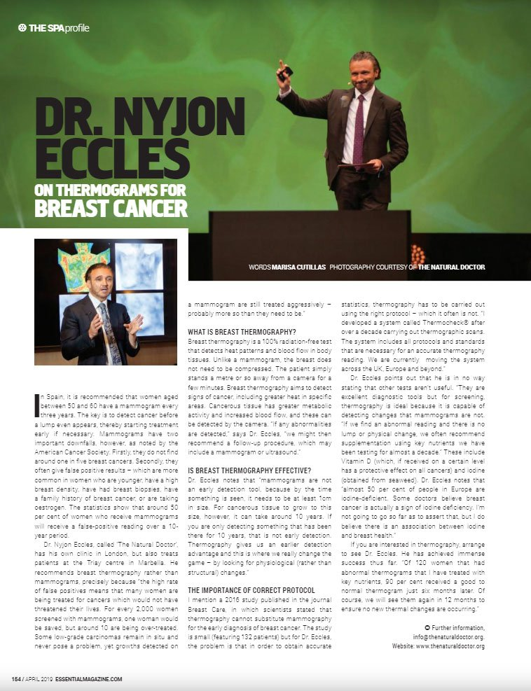 Dr. Nyjon Eccles on Thermograms for Breast Cancer